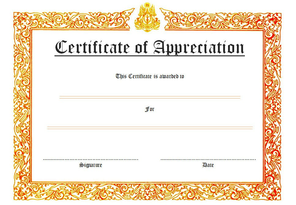 Certificate Of Appreciation Template Word 10 Best Ideas regarding Awesome Template For Recognition Certificate