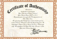 Certificate Of Authenticity  Certificates Templates Free pertaining to Amazing Authenticity Certificate Templates Free