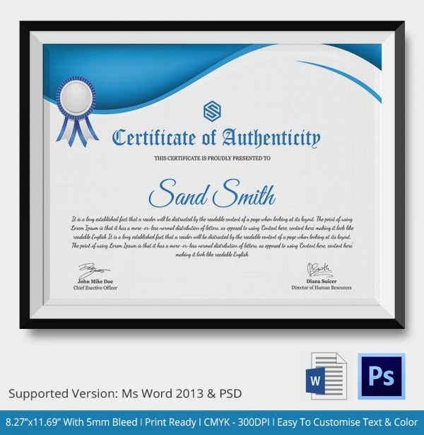 Certificate Of Authenticity Template  20 Free Word Pdf inside Free Certificate Of Authenticity Photography Template