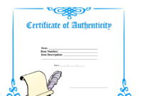 Certificate Of Authenticity Template Download Printable inside Download Ownership Certificate Templates Editable