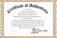 Certificate Of Authenticity Template For Art Inspirational pertaining to Certificate Of Authenticity Free Template