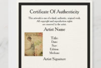 Certificate Of Authenticity Template For Artists  Zazzle in Free Certificate Of Authenticity Photography Template