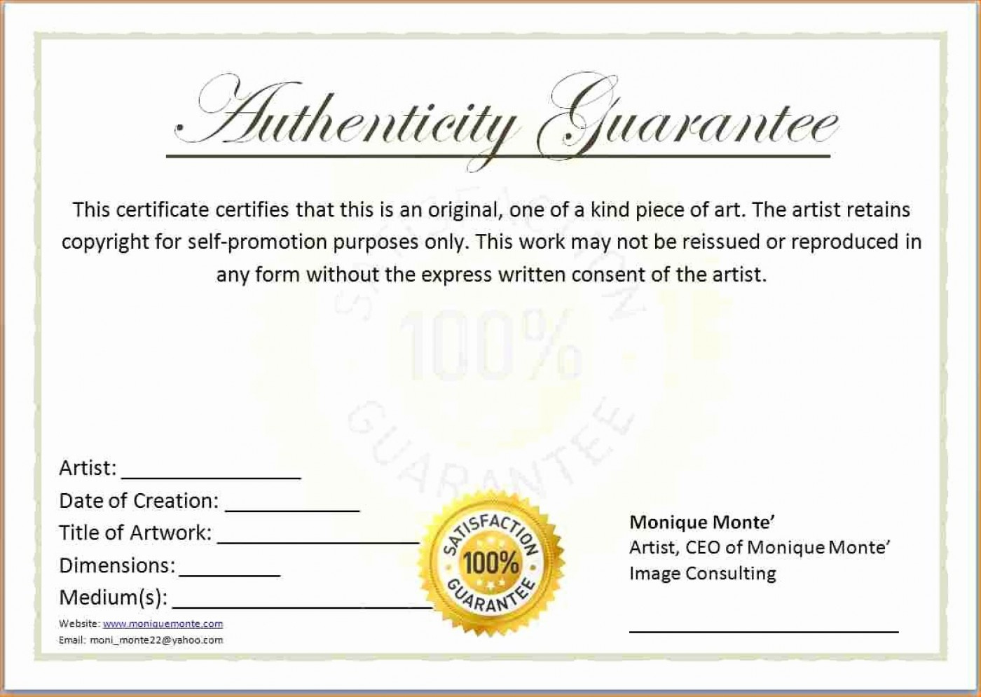 Certificate Of Authenticity Template  Great Sample Templates in Certificate Of Authenticity Templates