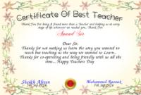 Certificate Of Best Teacher Certificate  Teacher Awards regarding Awesome Teacher Appreciation Certificate Templates