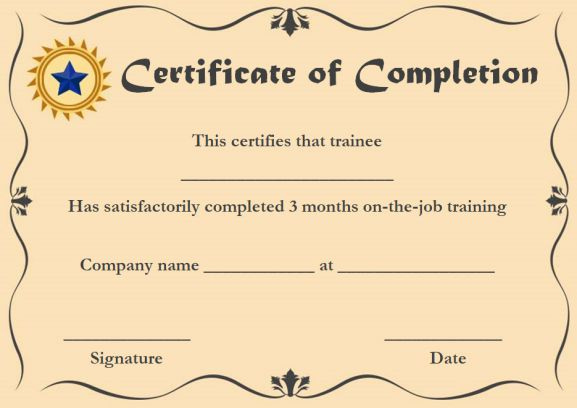 Certificate Of Completion 22 Templates In Word Format for Anger Management Certificate Template Free