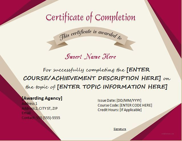 Certificate Of Completion For Ms Word Download At Http intended for Certificate Of Completion Word Template