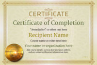 Certificate Of Completion  Free Quality Printable with Best Certificate Of Completion Template Free Printable