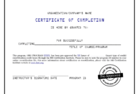 Certificate Of Completion Template 541  Word Templates regarding Printable Certificate Of Completion Template Construction