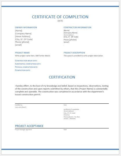 Certificate Of Completion Template Construction  Popular intended for Certificate Of Completion Template Construction