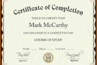 Certificate Of Completion Template Free Download for Best Certificate Template For Project Completion