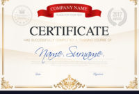 Certificate Of Completion Template Royalty Free Vector Image with Certification Of Completion Template