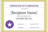 Certificate Of Completion Word Template Beautiful Free inside Free Completion Certificate Templates For Word