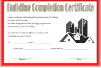 Certificate Of Construction Completion 10 Best Template pertaining to Printable Certificate Of Construction Completion