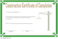 Certificate Of Construction Completion 10 Best Template regarding Construction Certificate Template 10 Docs Free