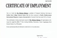Certificate Of Employment  Certificates Templates Free intended for Sample Certificate Employment Template