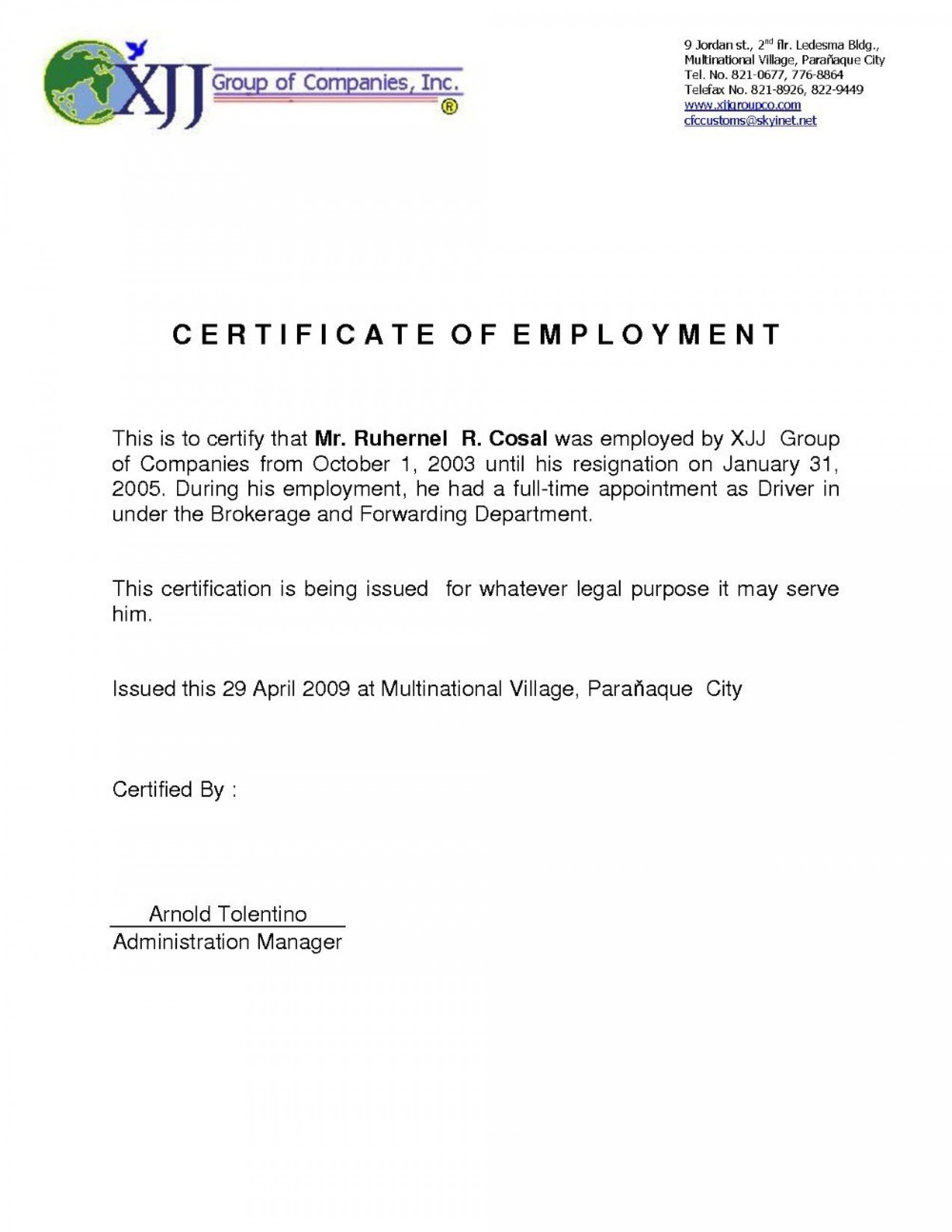 Certificate Of Employment Template  Addictionary regarding Certificate Of Employment Template