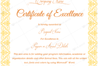 Certificate Of Excellence 03  Word Layouts regarding Awesome Academic Excellence Certificate