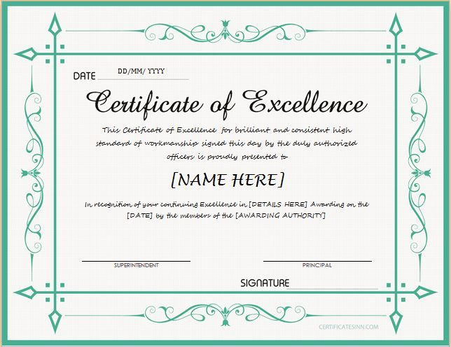 Certificate Of Excellence For Ms Word Download At Http with regard to Downloadable Certificate Templates For Microsoft Word