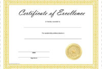 Certificate Of Excellence Png  Free Certificate Of intended for Academic Excellence Certificate