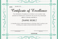 Certificate Of Excellence Template Free Download 7  Best regarding Free Kindness Certificate Template 7 New Ideas Free