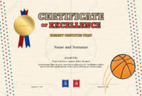 Certificate Of Excellence Template In Sport Theme For for Basketball Achievement Certificate Templates