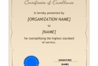 Certificate Of Excellence Template  Word Templates with Free Certificate Of Excellence Template