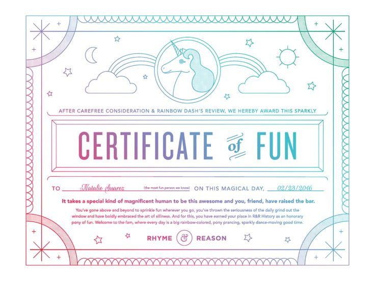 Certificate Of Fun  Certificate Design Inspiration intended for Unicorn Adoption Certificate Templates