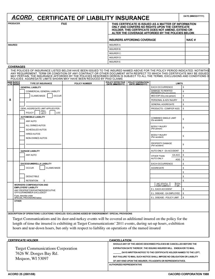 Certificate Of Liability Insurance Template 7 Things That in Certificate Of Insurance Template