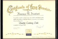 Certificate Of Long Service To Florence M Frustieri 25 with regard to Free Certificate For Years Of Service Template