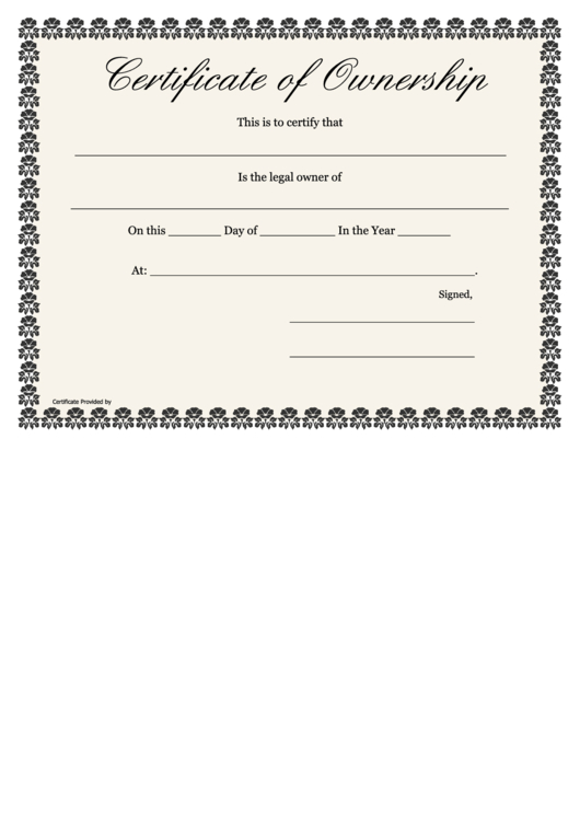 Certificate Of Ownership Template Printable Pdf Download with Certificate Of Ownership Template