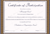 Certificate Of Participation 03  Certificate Of inside Sample Certificate Of Participation Template