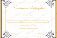 Certificate Of Participation 04  Certificate Of in Certificate Of Participation Template Pdf