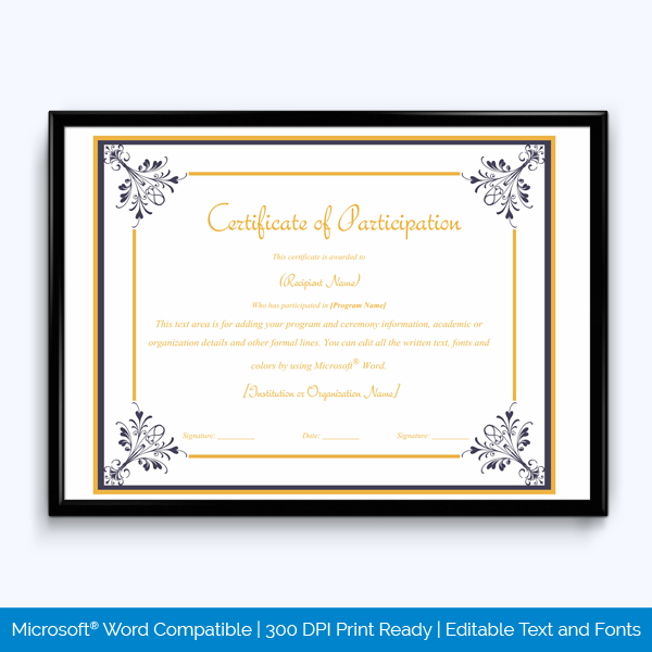 Certificate Of Participation 04  Word Layouts intended for Free Certificate Templates For Word 2007