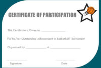 Certificate Of Participation Basketball Camp  Free Basketball for Printable Netball Participation Certificate Editable Templates