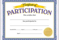 Certificate Of Participation Classic Certificates  T pertaining to Free Cooking Contest Winner Certificate Templates