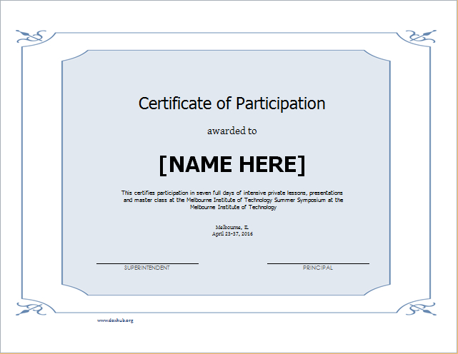 Certificate Of Participation Template For Word  Document Hub pertaining to Certificate Of Participation Template Doc 10 Ideas