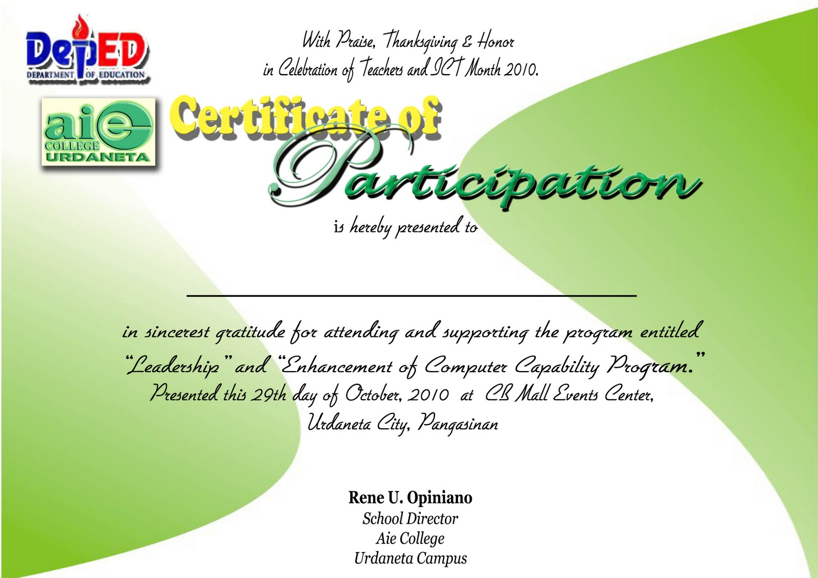 Certificate Of Participation Template Free with Templates For Certificates Of Participation