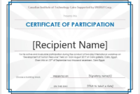 Certificate Of Participation Template Word 5  Templates throughout Free Certificate Of Participation Template Doc