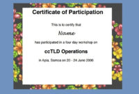 Certificate Of Participation Templates  7 Ms Word  Pdf with Free Certificate Of Participation Template Pdf