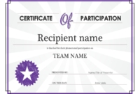 Certificate Of Participation Throughout Certification Of within Participation Certificate Templates Free Printable