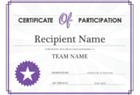 Certificate Of Participation Word Template  Best pertaining to Certificate Of Participation Word Template