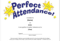 Certificate Of Perfect Attendance Template For School Or in Quality Perfect Attendance Certificate Template