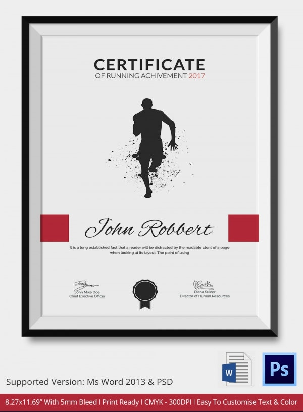 Certificate Of Running Template  5 Word Psd Format inside Free Marathon Certificate Templates