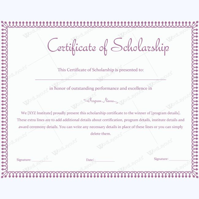 Certificate Of Scholarship 10  Words Create Certificate with regard to Best 10 Scholarship Award Certificate Editable Templates