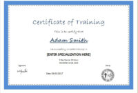 Certificate Of Training Template For Ms Word  Document within Amazing Training Certificate Template Word Format