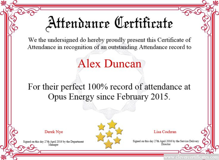 Certificate Template  Certificate Design  Attendance throughout Best Perfect Attendance Certificate Template Free
