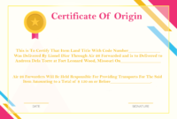 Certificate Template for Amazing Certificate Of Origin Template