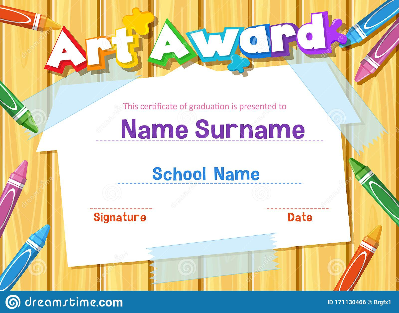 Certificate Template For Art Award With Crayons In with regard to Free Art Award Certificate Template