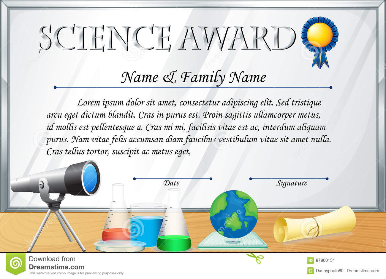 Certificate Template For Science Award Stock Vector intended for Awesome Science Achievement Certificate Template Ideas
