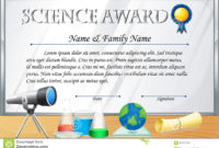 Certificate Template For Science Award Stock Vector throughout Awesome Science Achievement Certificate Templates
